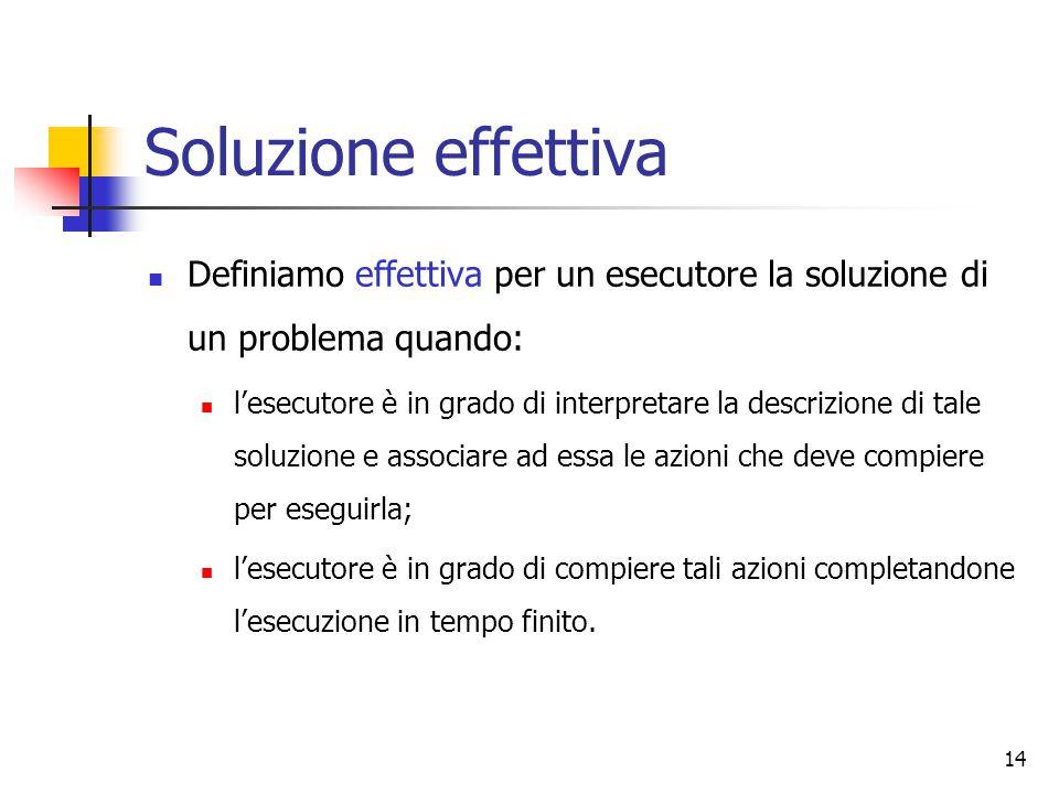 Soluzione effettiva Definiamo effettiva per un esecutore la soluzione di un problema quando: