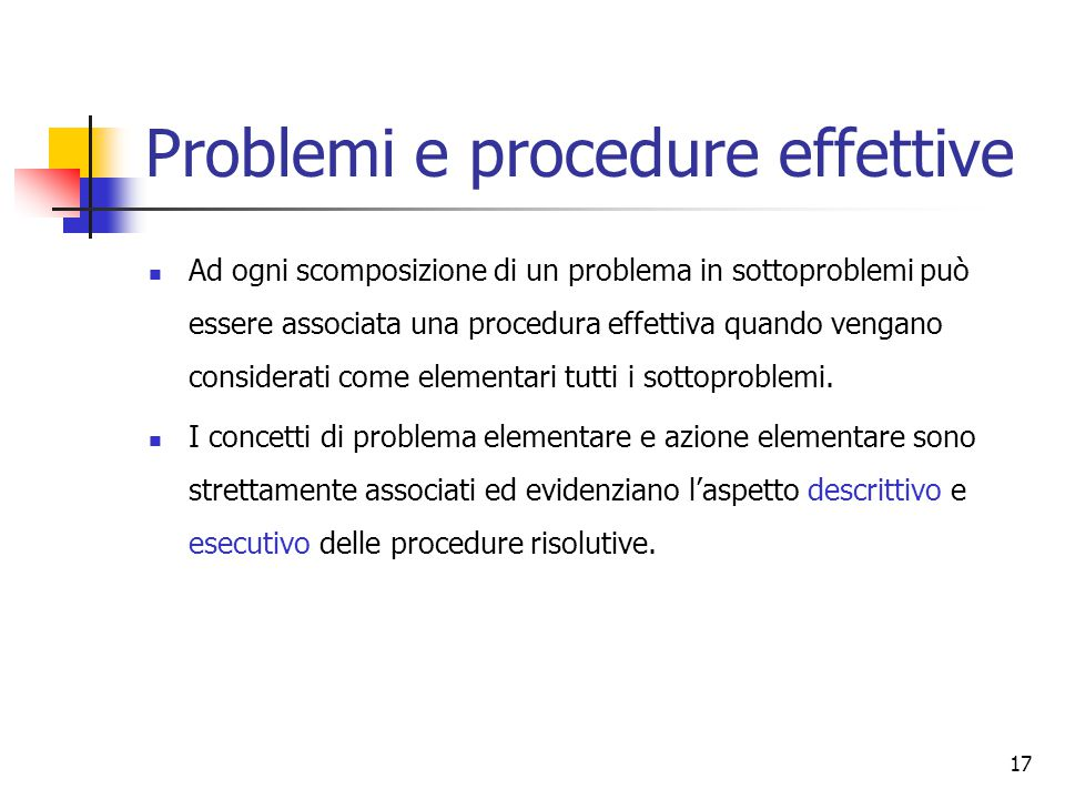 Problemi e procedure effettive