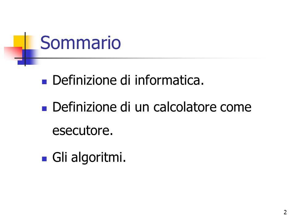 Sommario Definizione di informatica.