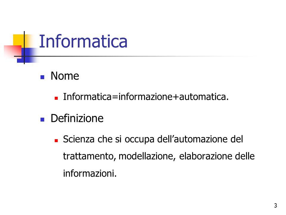 Informatica Nome Definizione Informatica=informazione+automatica.