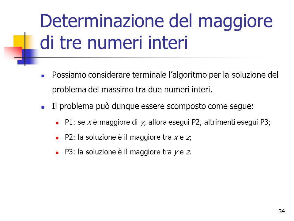 Determinazione del maggiore di tre numeri interi