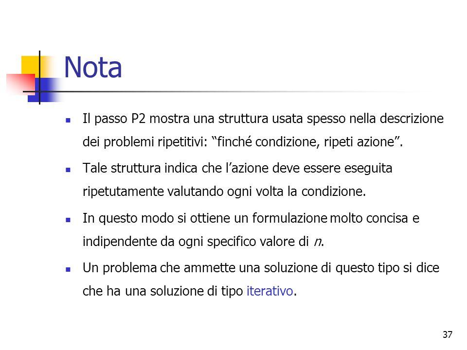 Nota Il passo P2 mostra una struttura usata spesso nella descrizione dei problemi ripetitivi: finché condizione, ripeti azione .