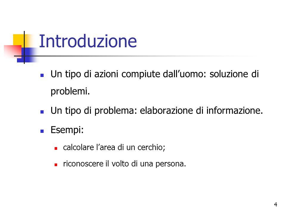 Introduzione Un tipo di azioni compiute dall'uomo: soluzione di problemi. Un tipo di problema: elaborazione di informazione.