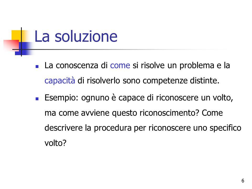 La soluzione La conoscenza di come si risolve un problema e la capacità di risolverlo sono competenze distinte.