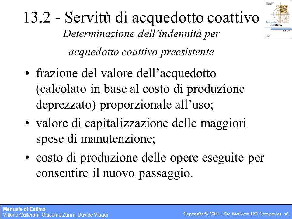 13.2 - Servitù di acquedotto coattivo Determinazione dell'indennità per acquedotto coattivo preesistente