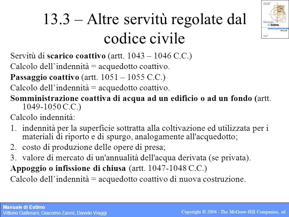 13.3 – Altre servitù regolate dal codice civile