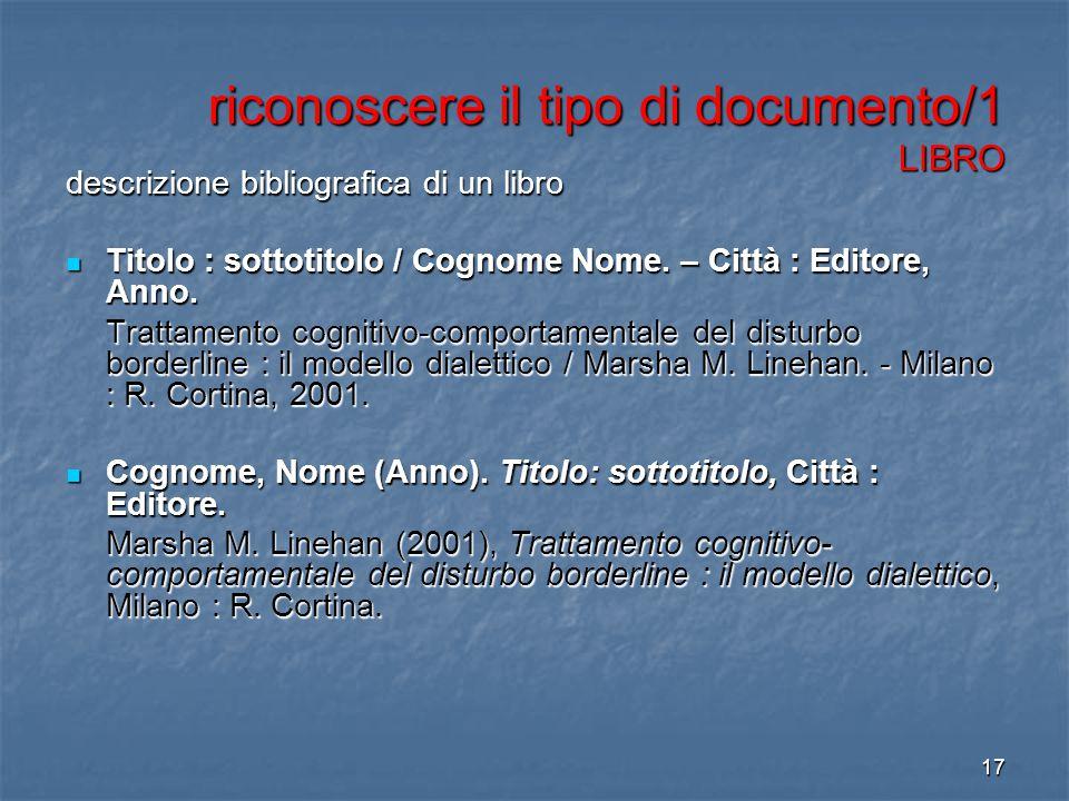 riconoscere il tipo di documento/1 LIBRO