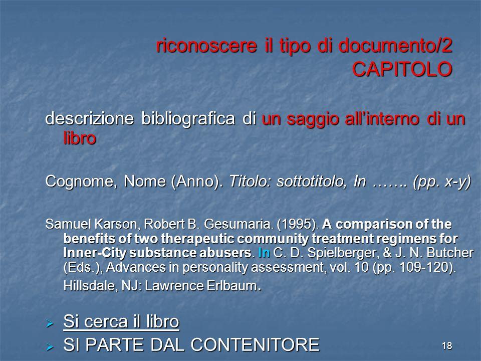 riconoscere il tipo di documento/2 CAPITOLO