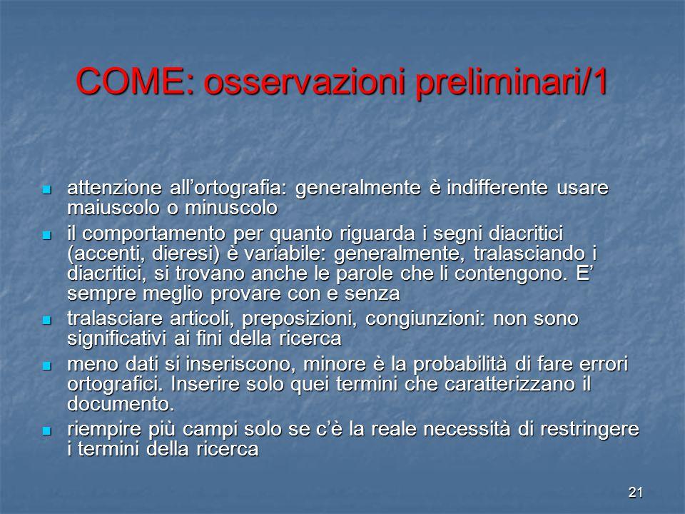 COME: osservazioni preliminari/1