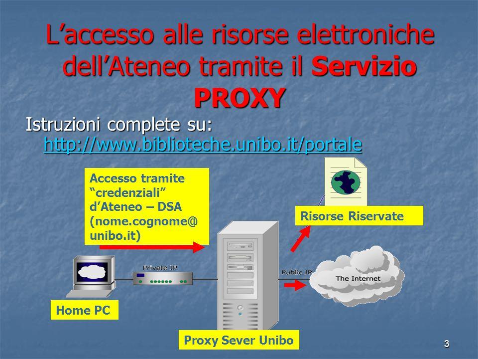 L'accesso alle risorse elettroniche dell'Ateneo tramite il Servizio PROXY