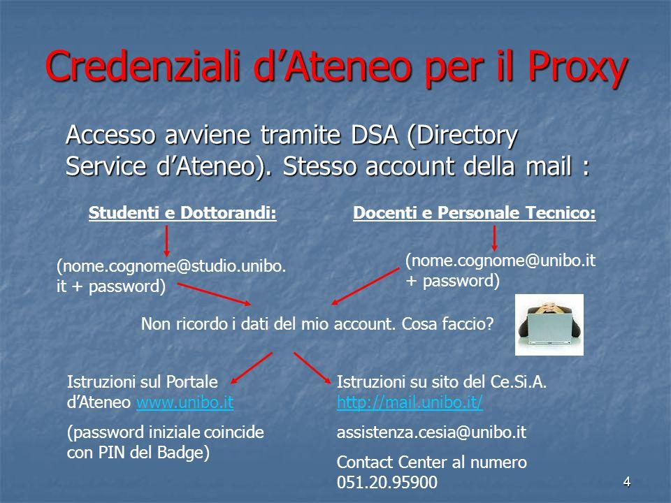 Credenziali d'Ateneo per il Proxy