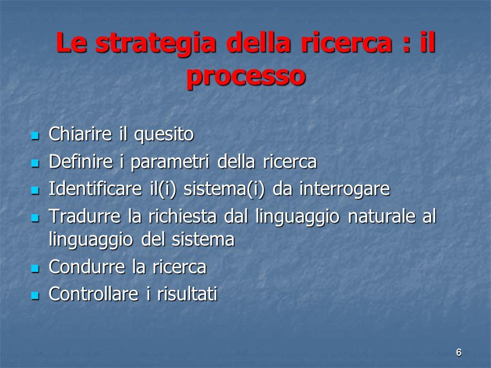 Le strategia della ricerca : il processo