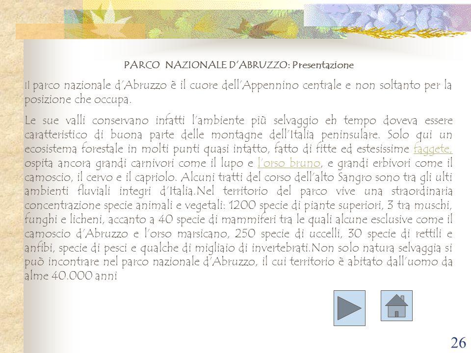 PARCO NAZIONALE D'ABRUZZO: Presentazione