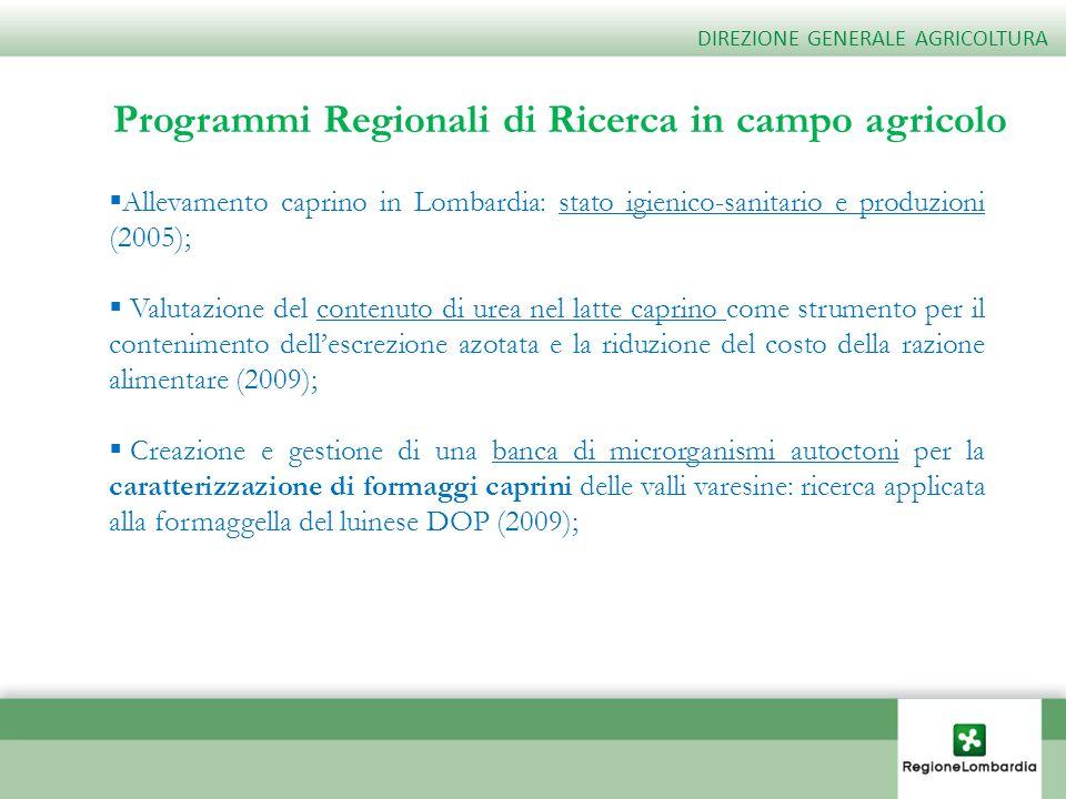 Programmi Regionali di Ricerca in campo agricolo