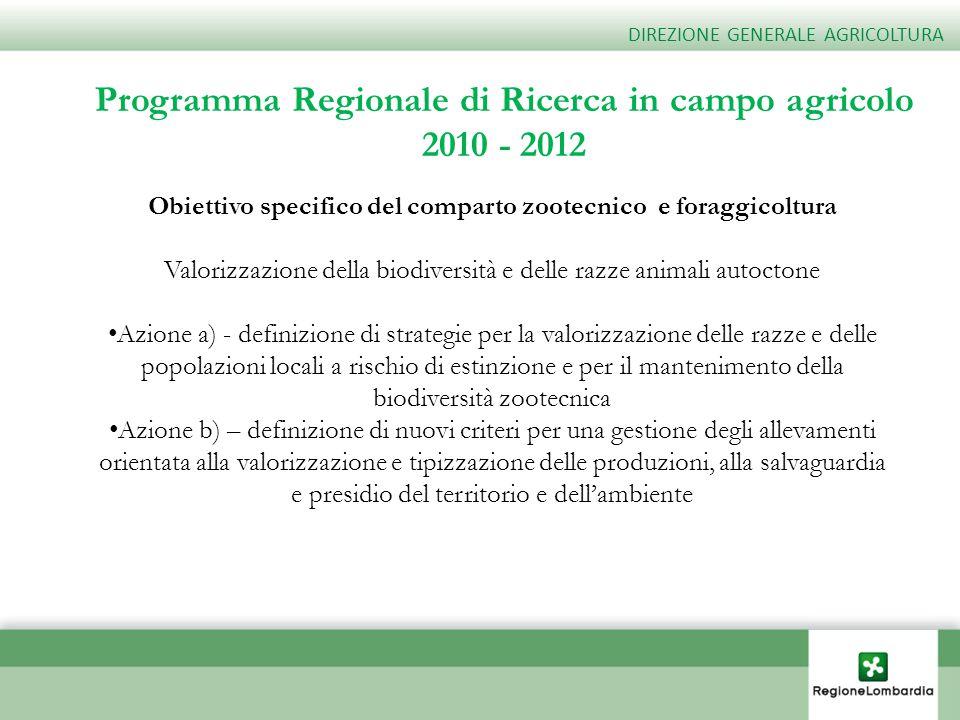 Programma Regionale di Ricerca in campo agricolo 2010 - 2012