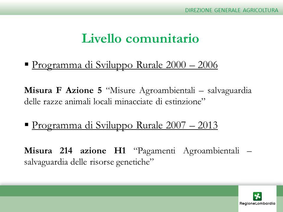 Livello comunitario Programma di Sviluppo Rurale 2000 – 2006