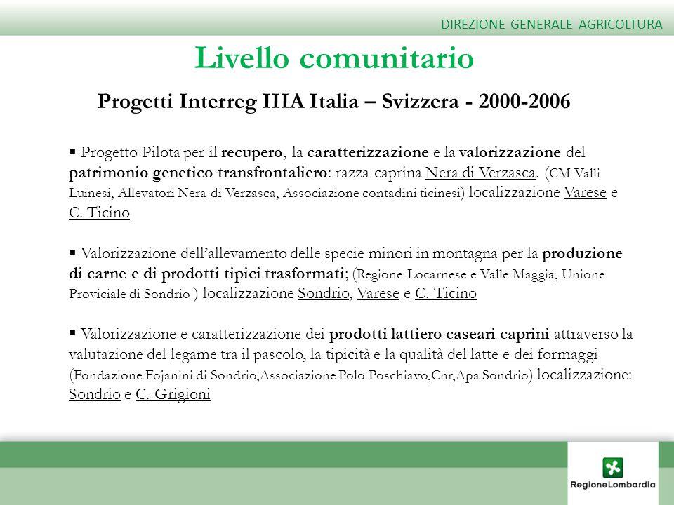 Progetti Interreg IIIA Italia – Svizzera - 2000-2006