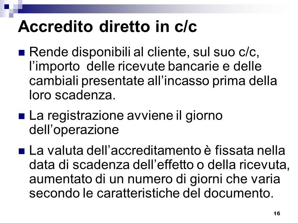 Accredito diretto in c/c