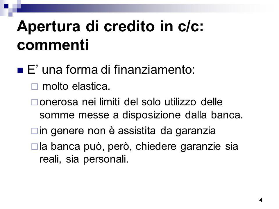 Apertura di credito in c/c: commenti