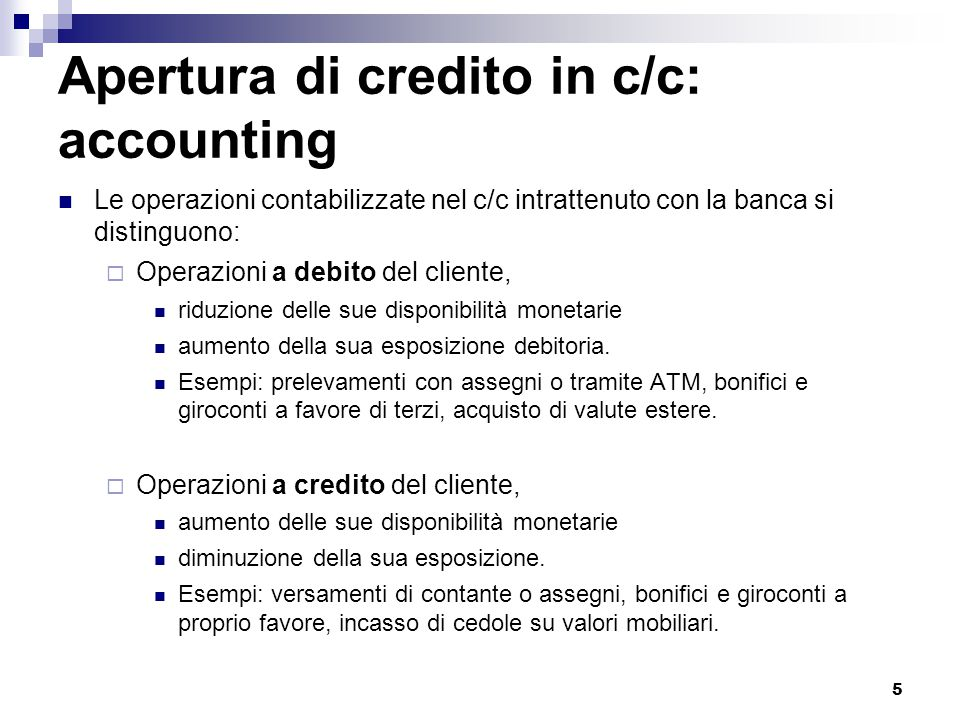 Apertura di credito in c/c: accounting