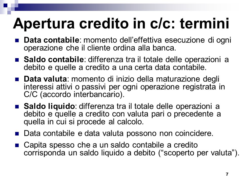Apertura credito in c/c: termini