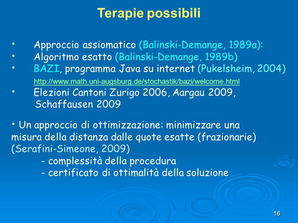 Terapie possibili Approccio assiomatico (Balinski-Demange, 1989a):