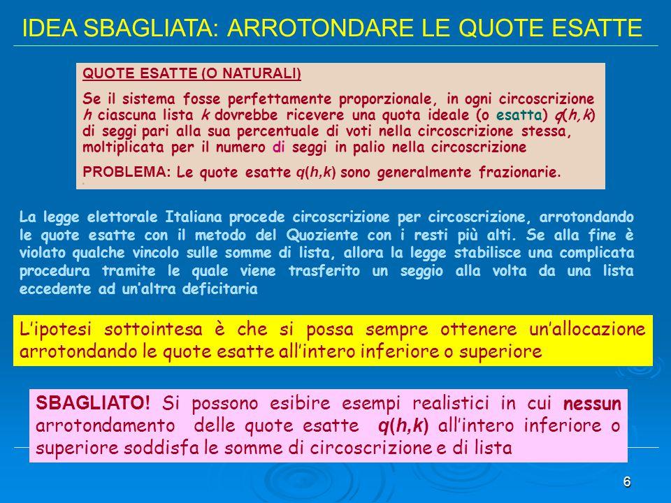 IDEA SBAGLIATA: ARROTONDARE LE QUOTE ESATTE