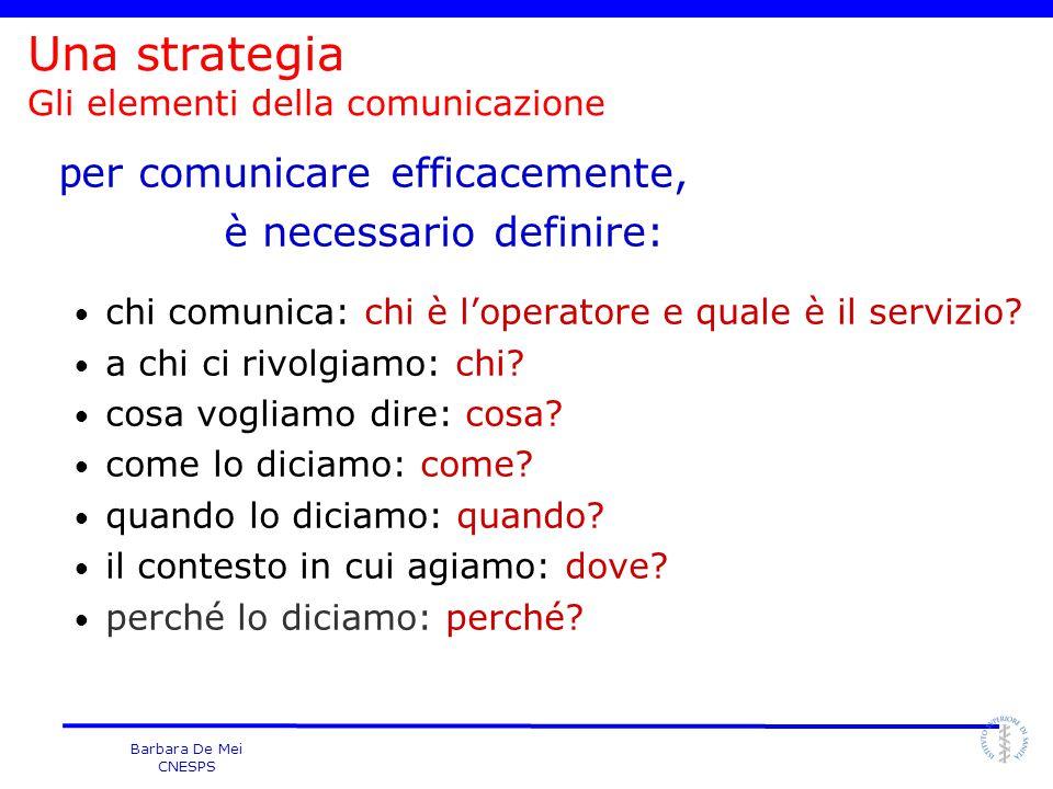 Una strategia Gli elementi della comunicazione