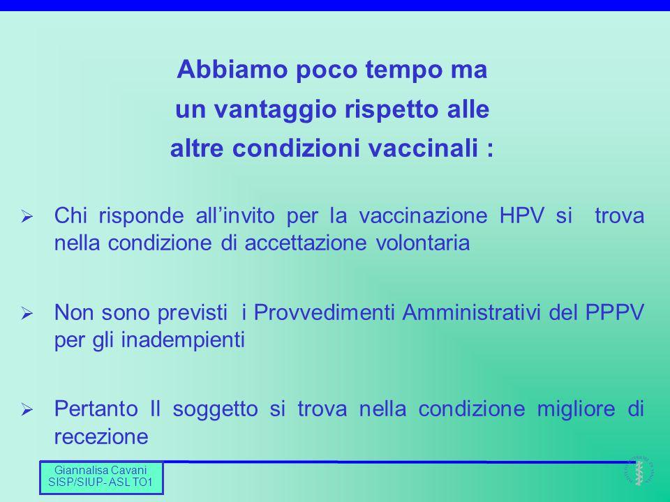 un vantaggio rispetto alle altre condizioni vaccinali :