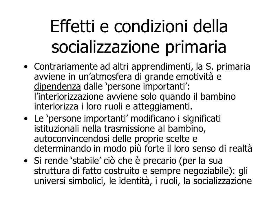 Effetti e condizioni della socializzazione primaria