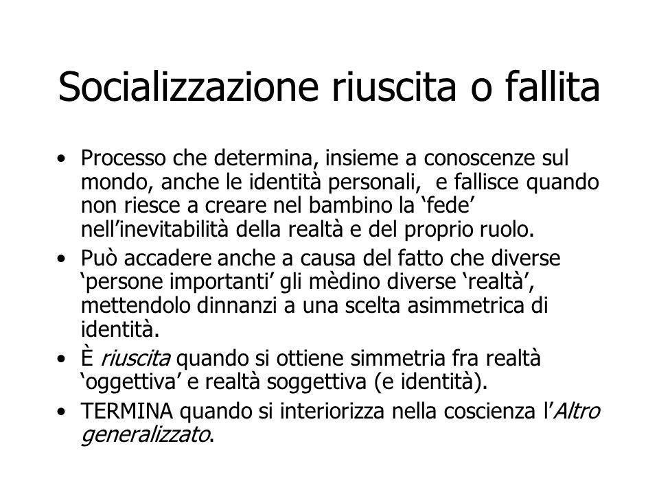 Socializzazione riuscita o fallita