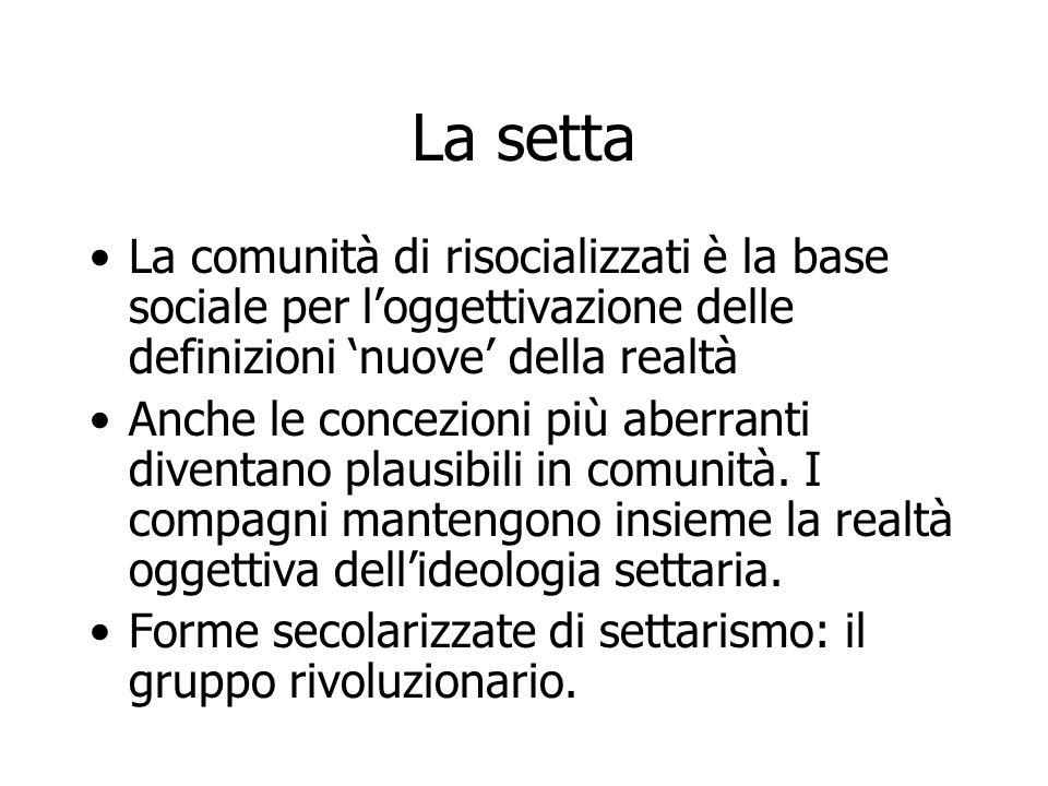 La setta La comunità di risocializzati è la base sociale per l'oggettivazione delle definizioni 'nuove' della realtà.