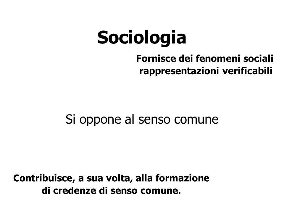 Sociologia Si oppone al senso comune Fornisce dei fenomeni sociali