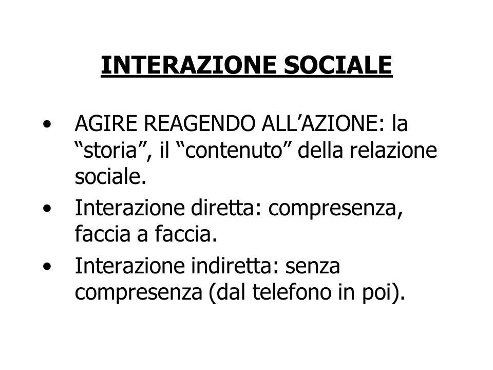 INTERAZIONE SOCIALE AGIRE REAGENDO ALL'AZIONE: la storia , il contenuto della relazione sociale.