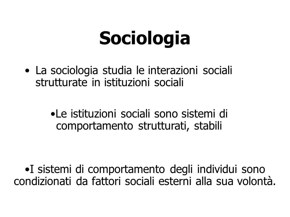 Sociologia La sociologia studia le interazioni sociali strutturate in istituzioni sociali.