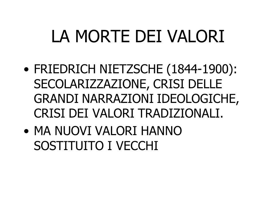 LA MORTE DEI VALORI FRIEDRICH NIETZSCHE (1844-1900): SECOLARIZZAZIONE, CRISI DELLE GRANDI NARRAZIONI IDEOLOGICHE, CRISI DEI VALORI TRADIZIONALI.