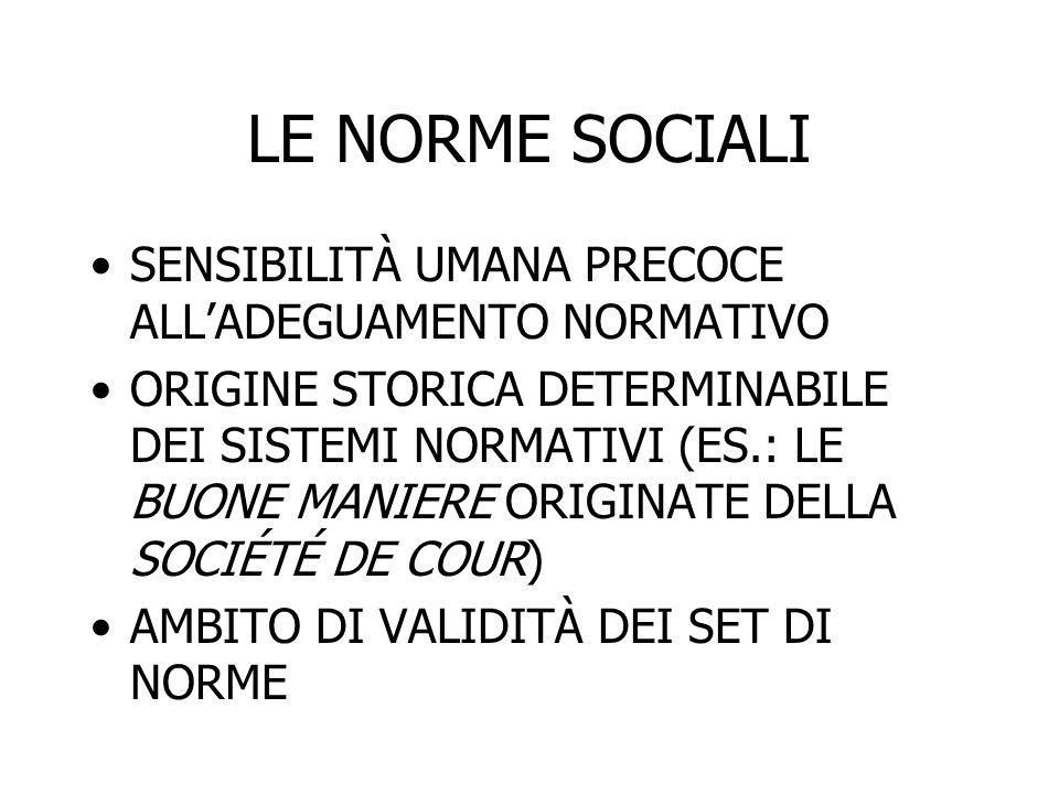 LE NORME SOCIALI SENSIBILITÀ UMANA PRECOCE ALL'ADEGUAMENTO NORMATIVO