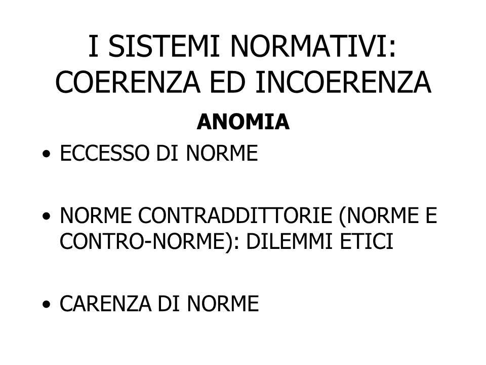 I SISTEMI NORMATIVI: COERENZA ED INCOERENZA