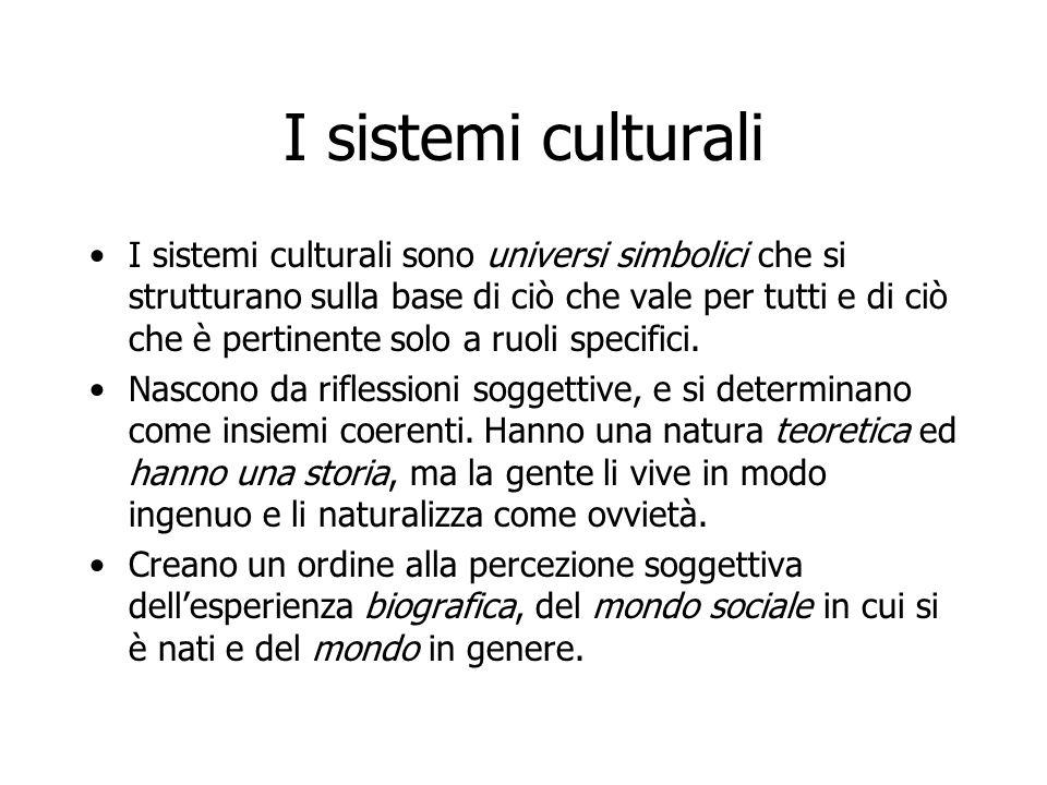 I sistemi culturali