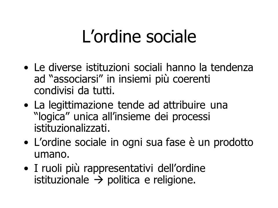 L'ordine sociale Le diverse istituzioni sociali hanno la tendenza ad associarsi in insiemi più coerenti condivisi da tutti.