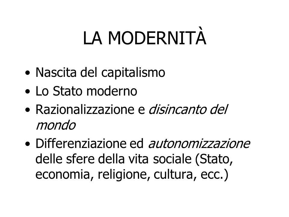 LA MODERNITÀ Nascita del capitalismo Lo Stato moderno
