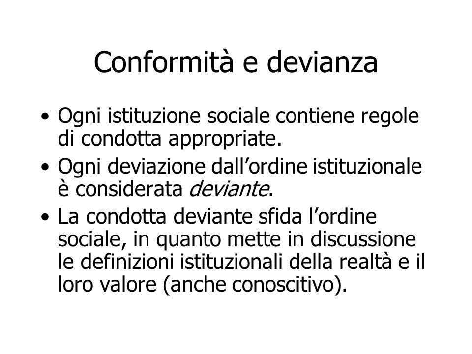 Conformità e devianza Ogni istituzione sociale contiene regole di condotta appropriate.