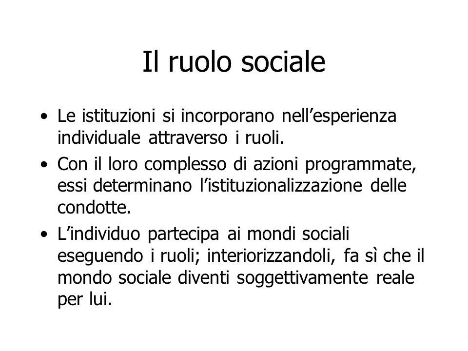 Il ruolo sociale Le istituzioni si incorporano nell'esperienza individuale attraverso i ruoli.