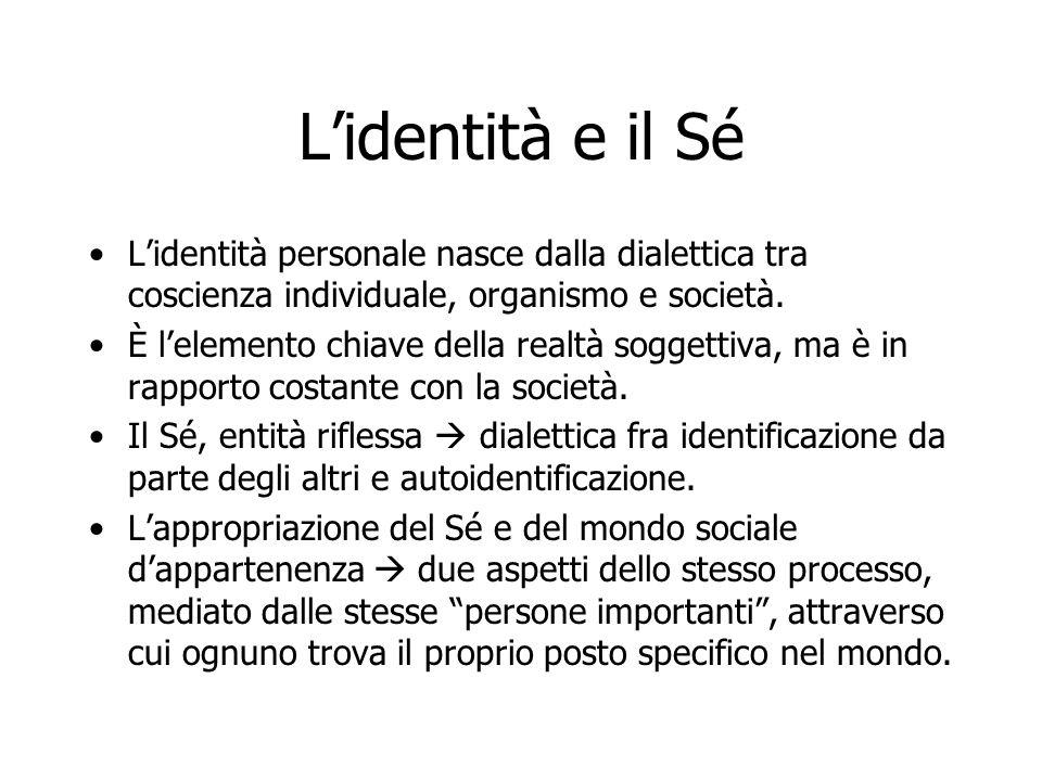L'identità e il Sé L'identità personale nasce dalla dialettica tra coscienza individuale, organismo e società.