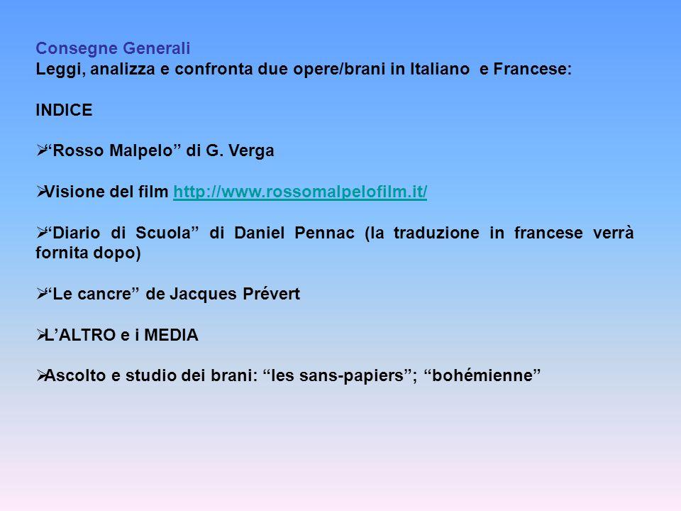 Consegne Generali Leggi, analizza e confronta due opere/brani in Italiano e Francese: INDICE. Rosso Malpelo di G. Verga.