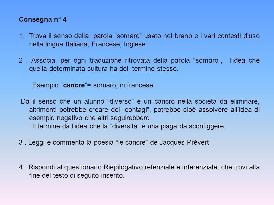 Consegna n° 4 Trova il senso della parola somaro usato nel brano e i vari contesti d'uso nella lingua Italiana, Francese, Inglese.