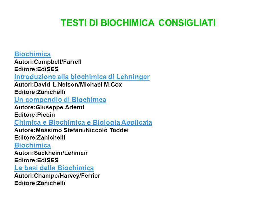 TESTI DI BIOCHIMICA CONSIGLIATI