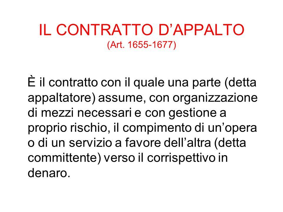 IL CONTRATTO D'APPALTO (Art. 1655-1677)