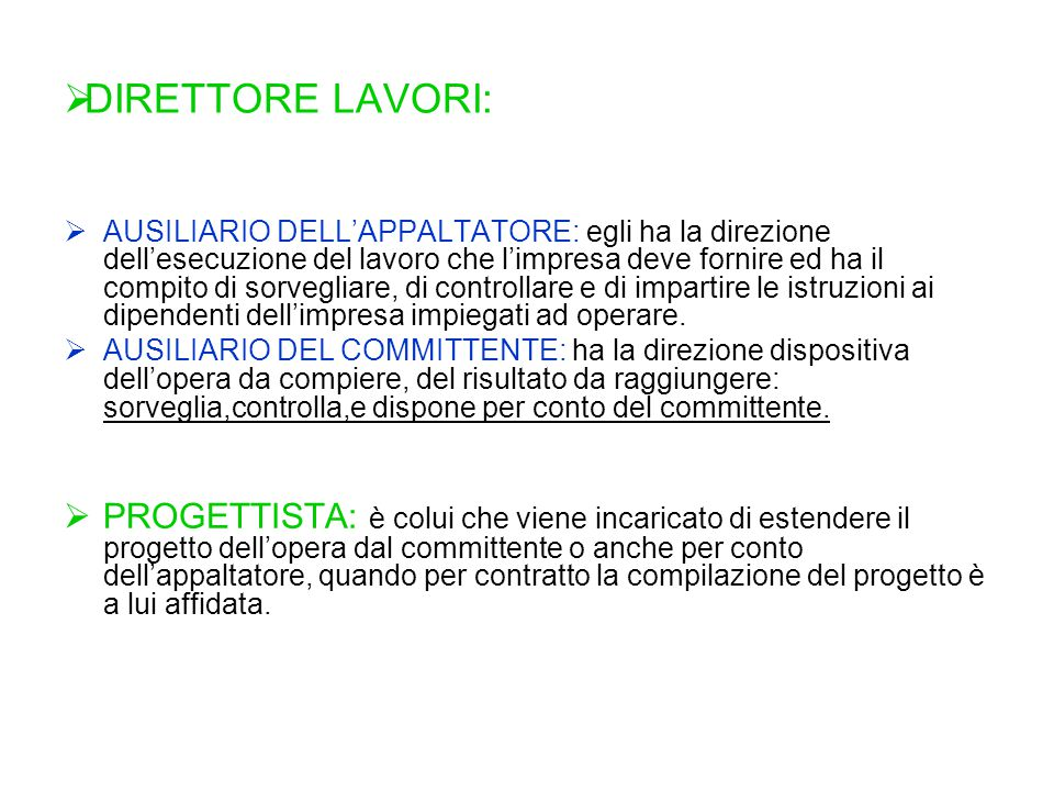 DIRETTORE LAVORI: