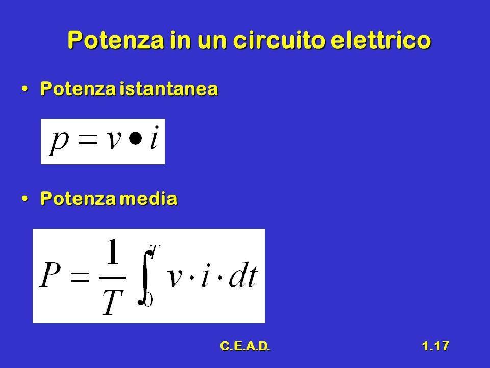 Potenza in un circuito elettrico